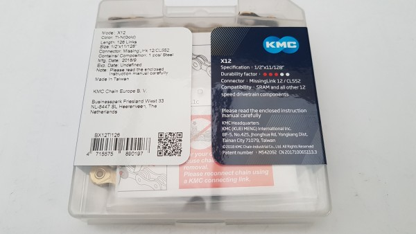 KMC Fahrrad Kette X-12 12-fach TI-N gold 126 Glieder