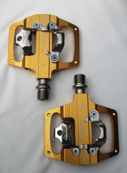 KCNC NOW8 Kombipedal LIGILO AM, gold, 352 g/pr, CroMo Axle, 6 Pins