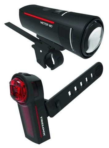 Trelock LS 600 I-Go Vector/740 LED Akkuleuchten Set 60 LUX