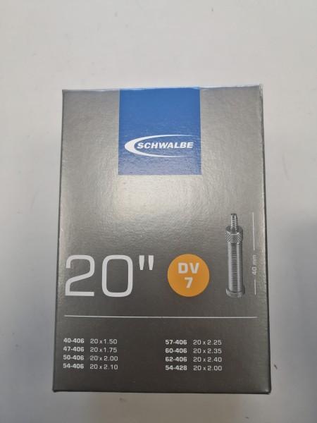 "Schwalbe Fahrradschlauch DV Ventil Nr. 7 20"" 40 mm 40/62-406"